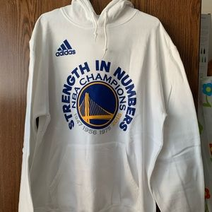 Adidas Golden State Warriors White Hoodie - Large